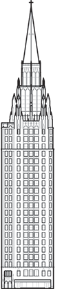 Chicago Temple Building Outline